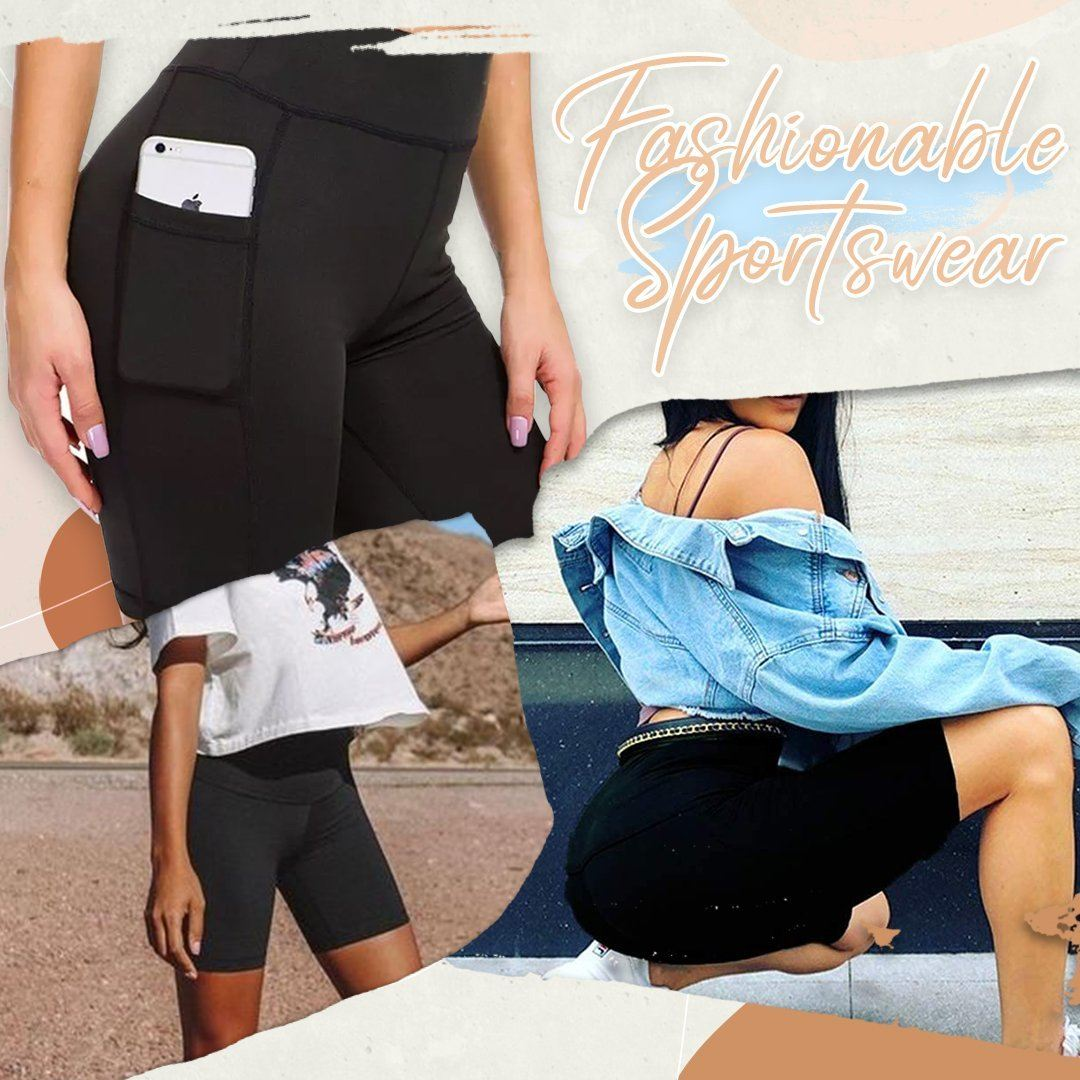 Side Pocket High Waist Yoga Shorts