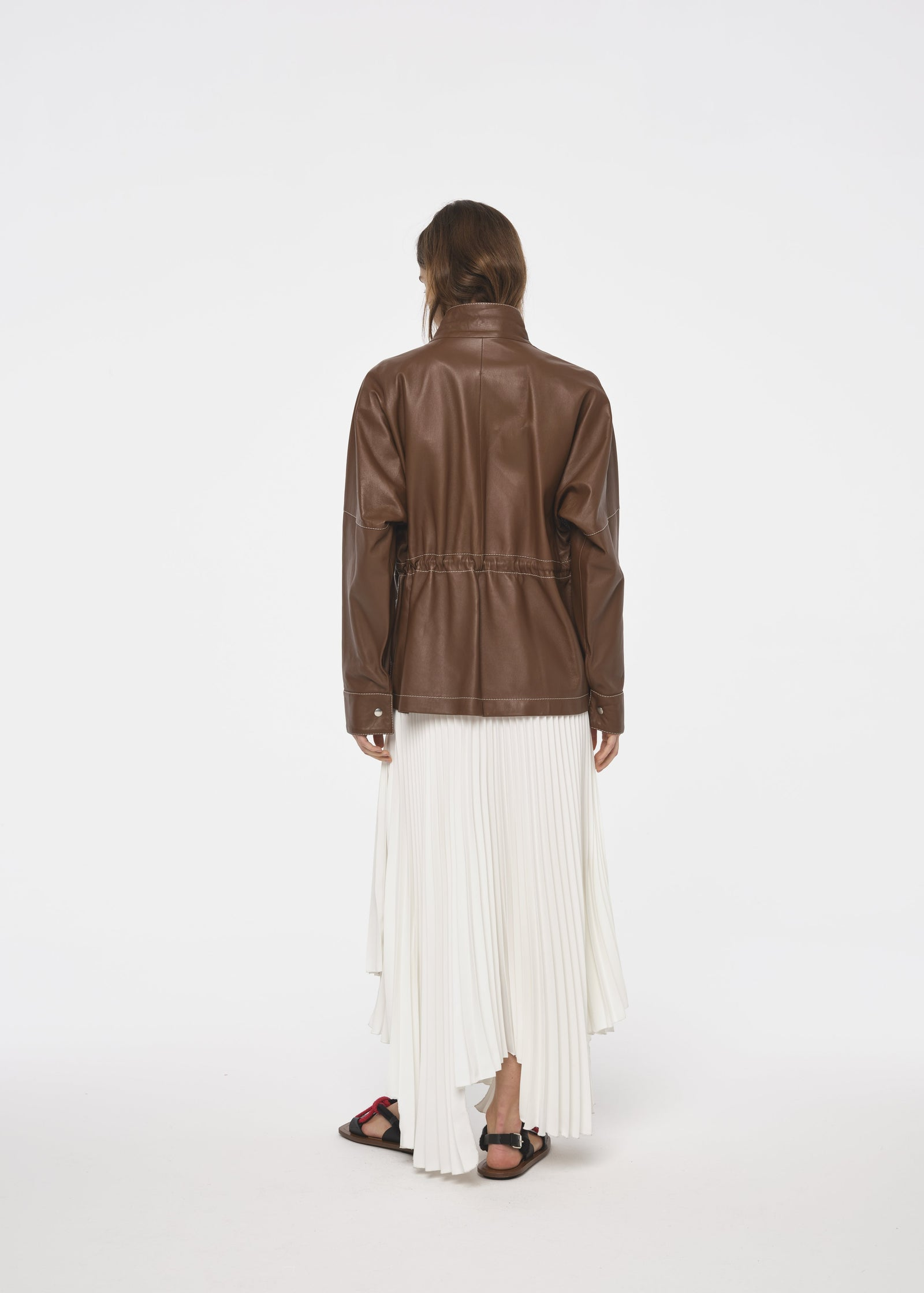 DRAWSTRING  LEATHER JACKET