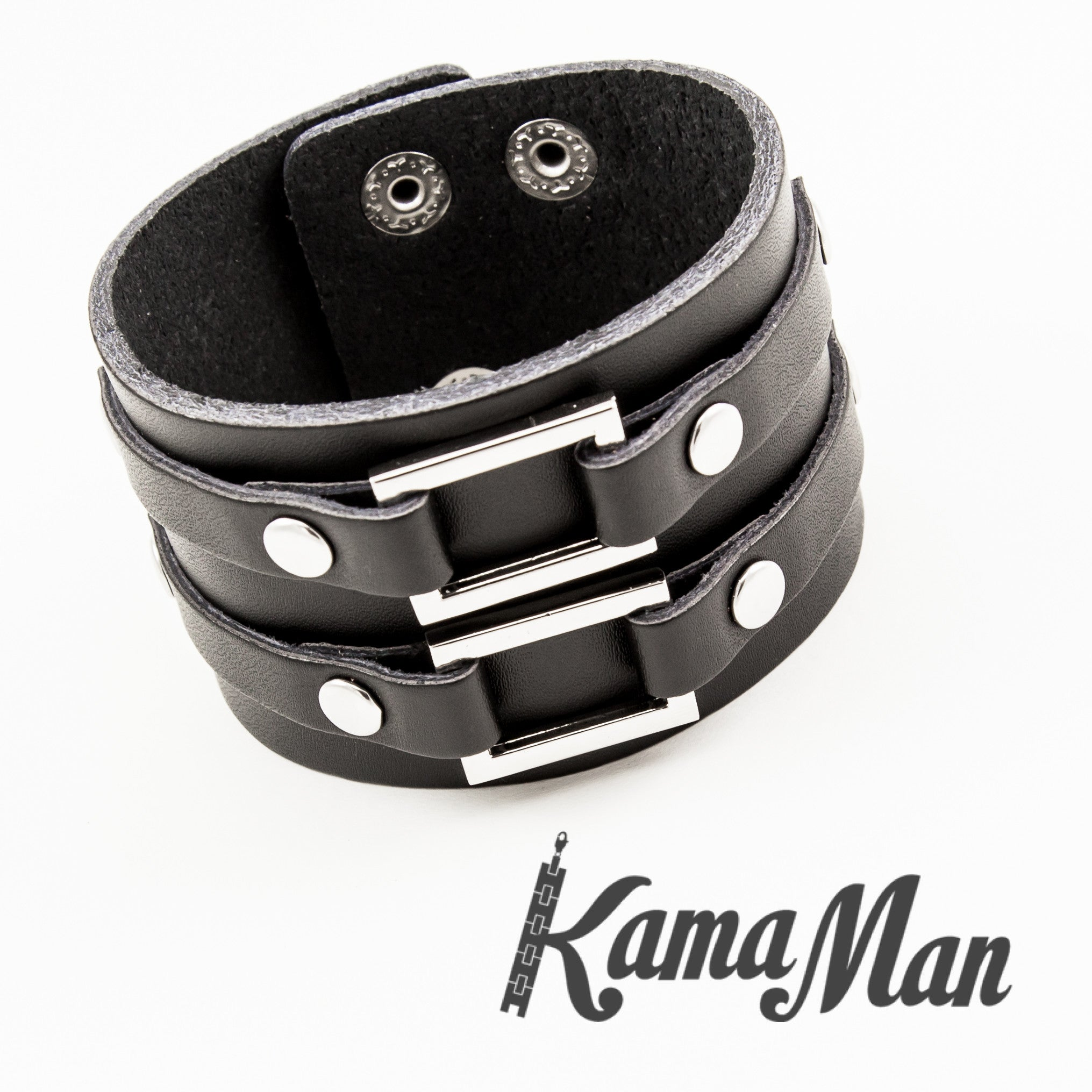 Men's Bracelet  Dual Closure Black Leather Cuff Bracelet  1