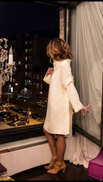 Envelope Sweater Dress in Ivory