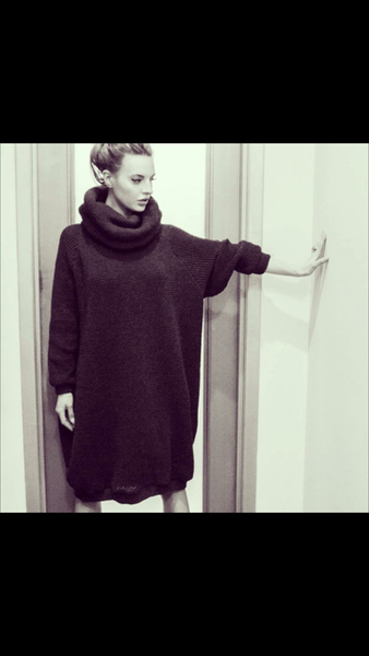Cocoon Sweater Dress in Charcoal