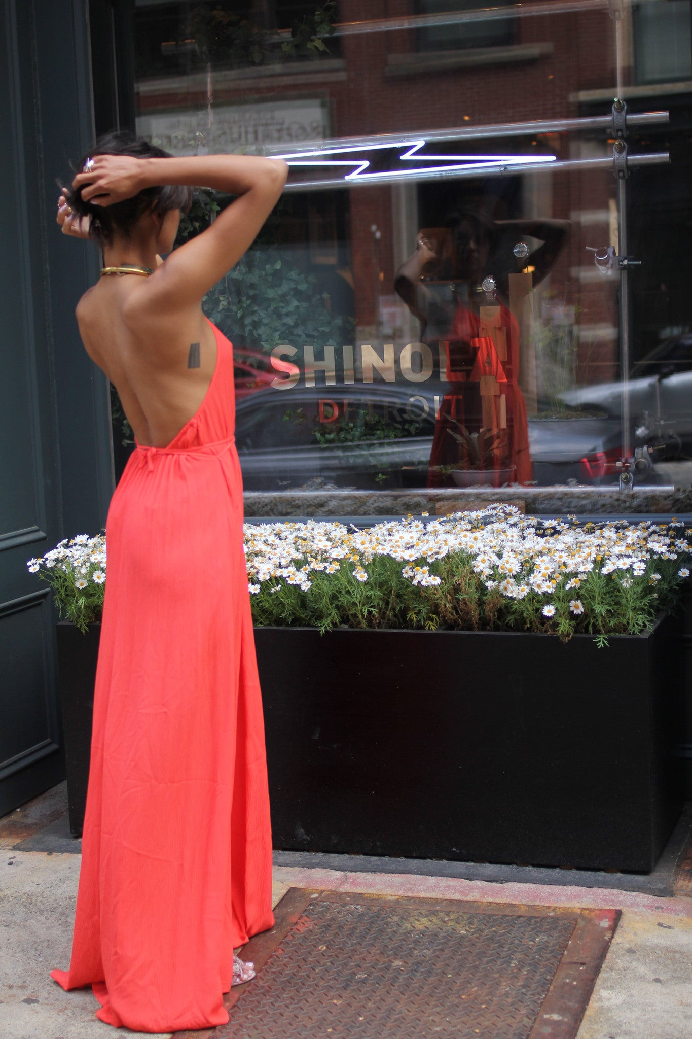 BrookeColeman Low-back Halter Maxi in TANGERINE