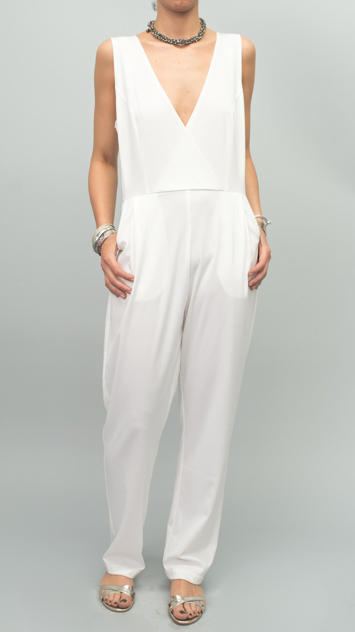 BrookeColeman Crossover Jumpsuit Ivory