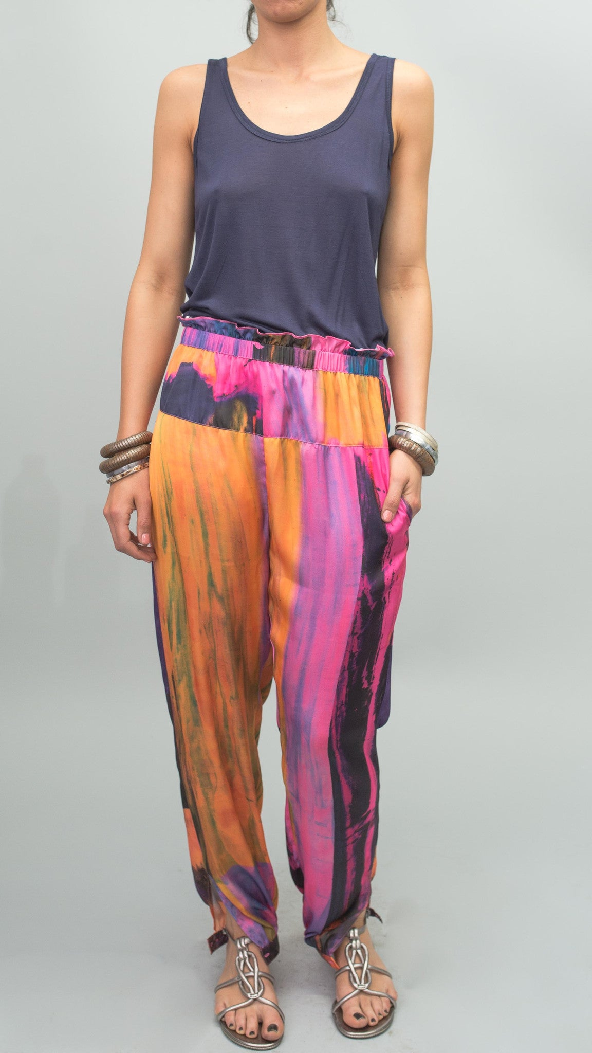 Paperbag Pants in Neon Sky