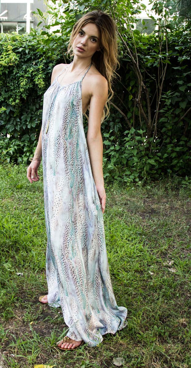 Brooke Coleman Low-Back Halter Maxi in Gargoyle