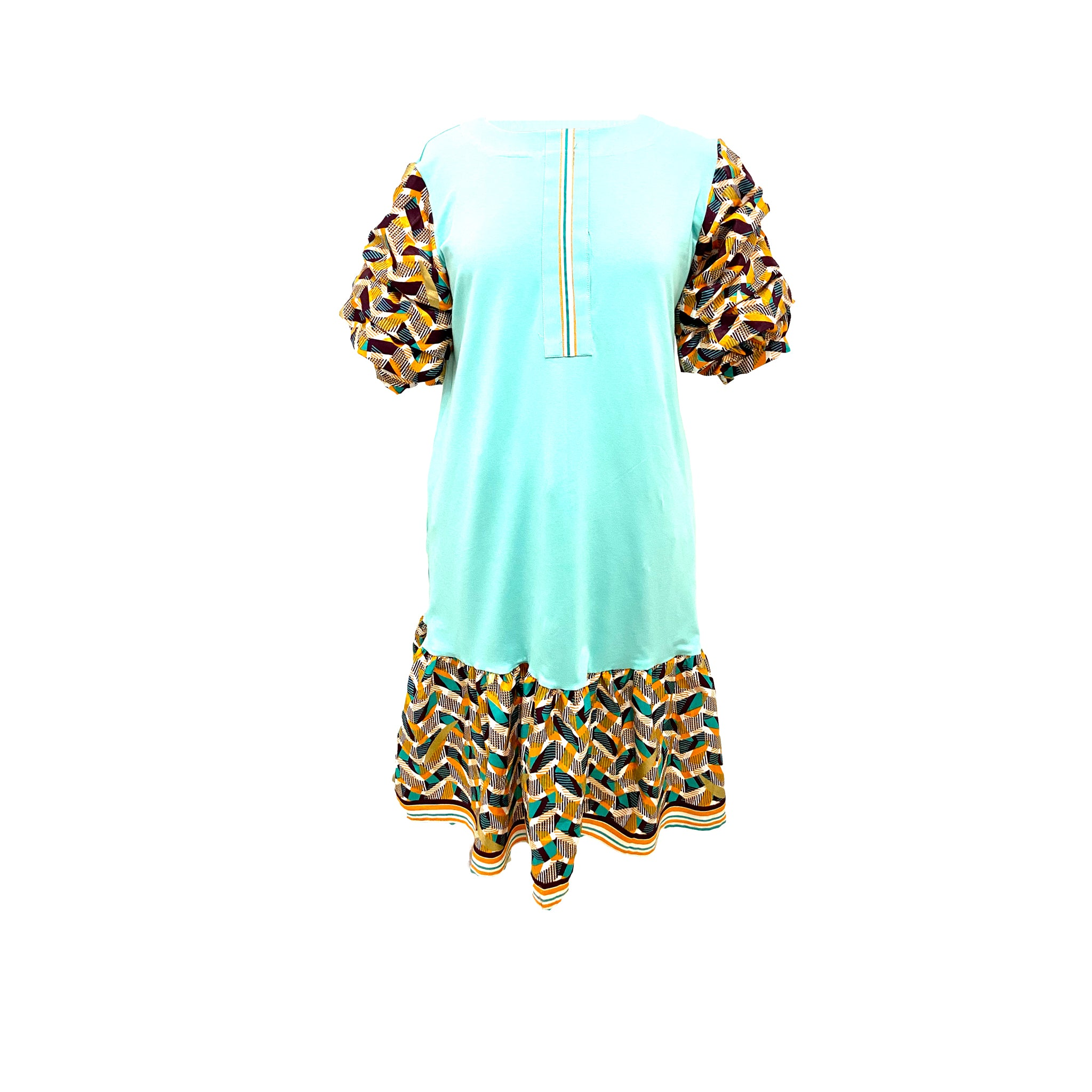 Cotton Lycra with African print combination dress