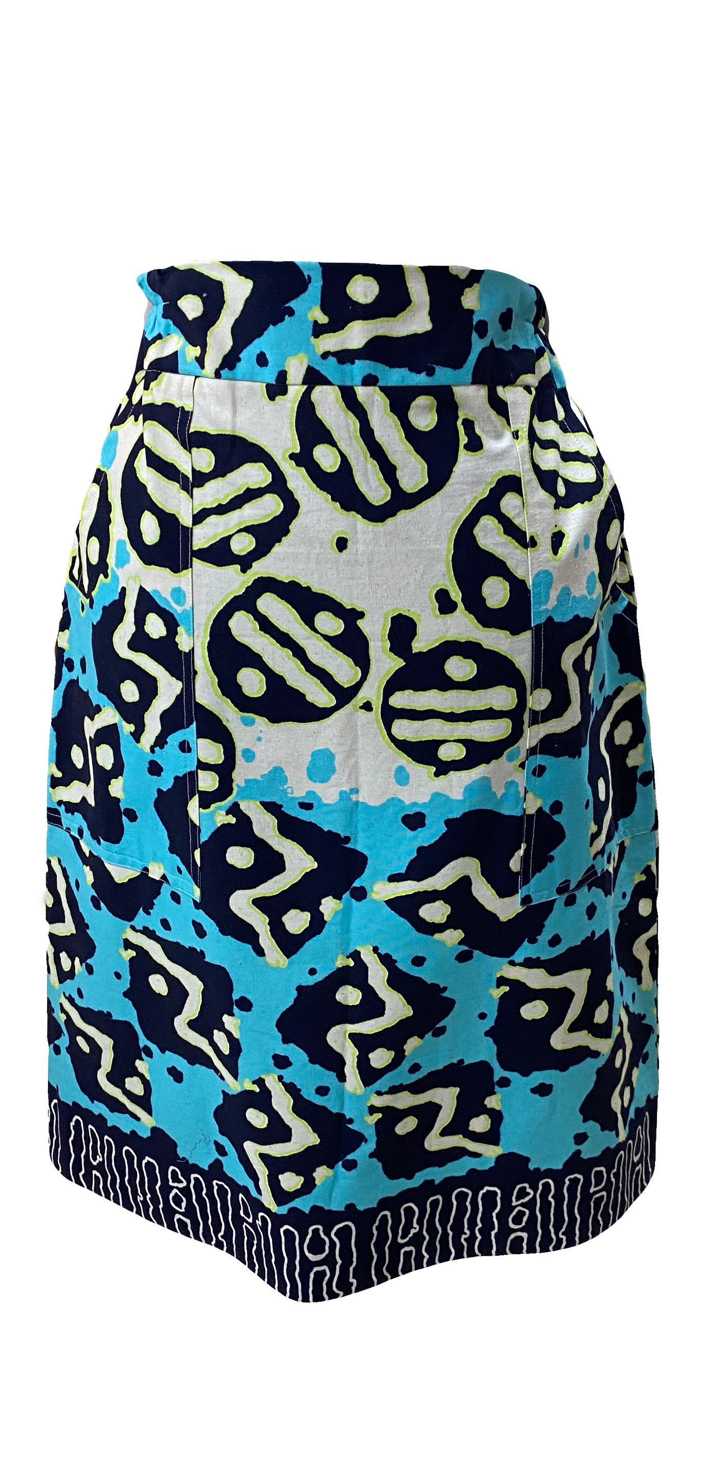Bogolan Print Pencil Skirt