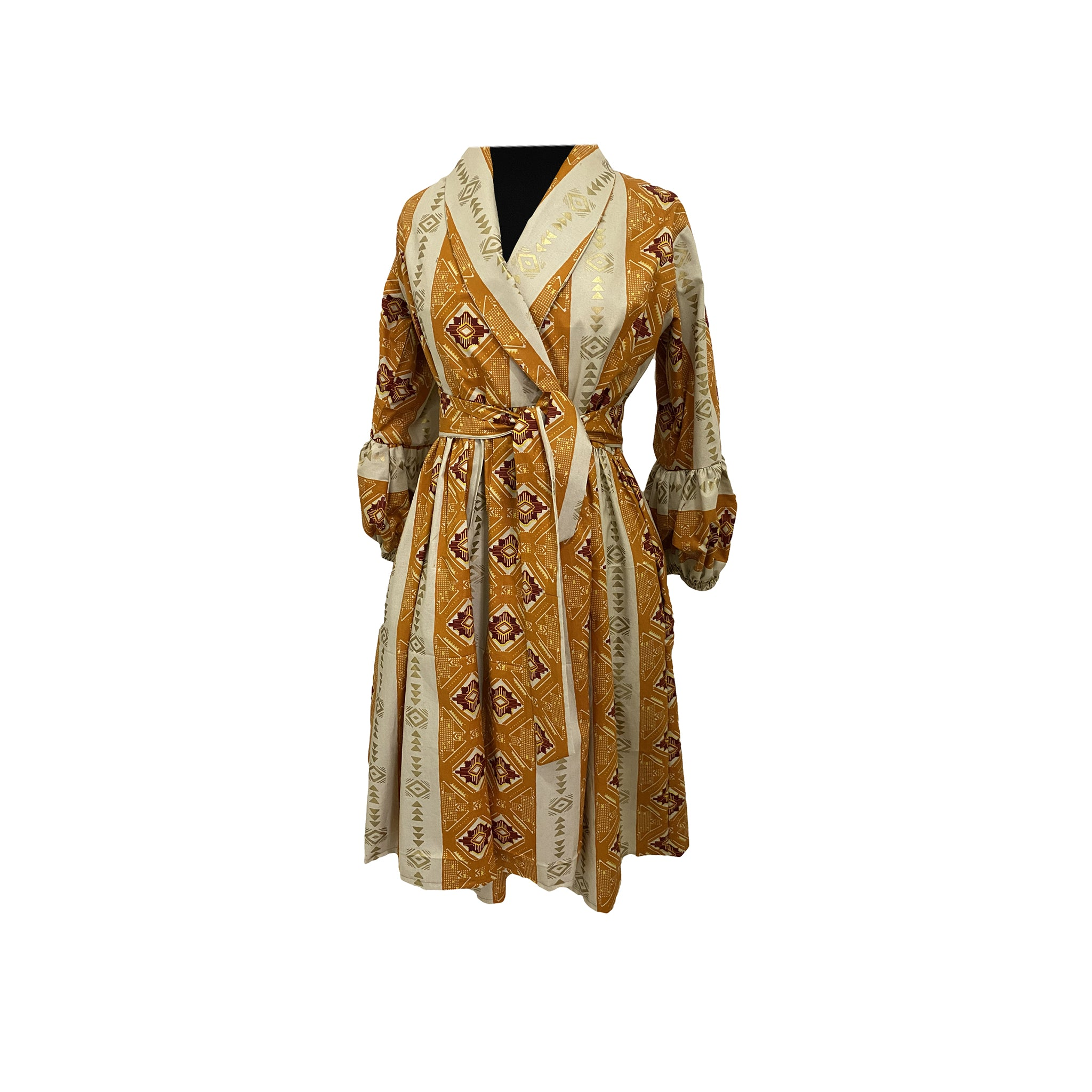 African Wrap dress with ball sleeves