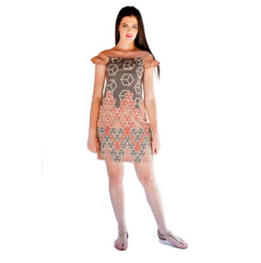 Multi African print off shoulder dress