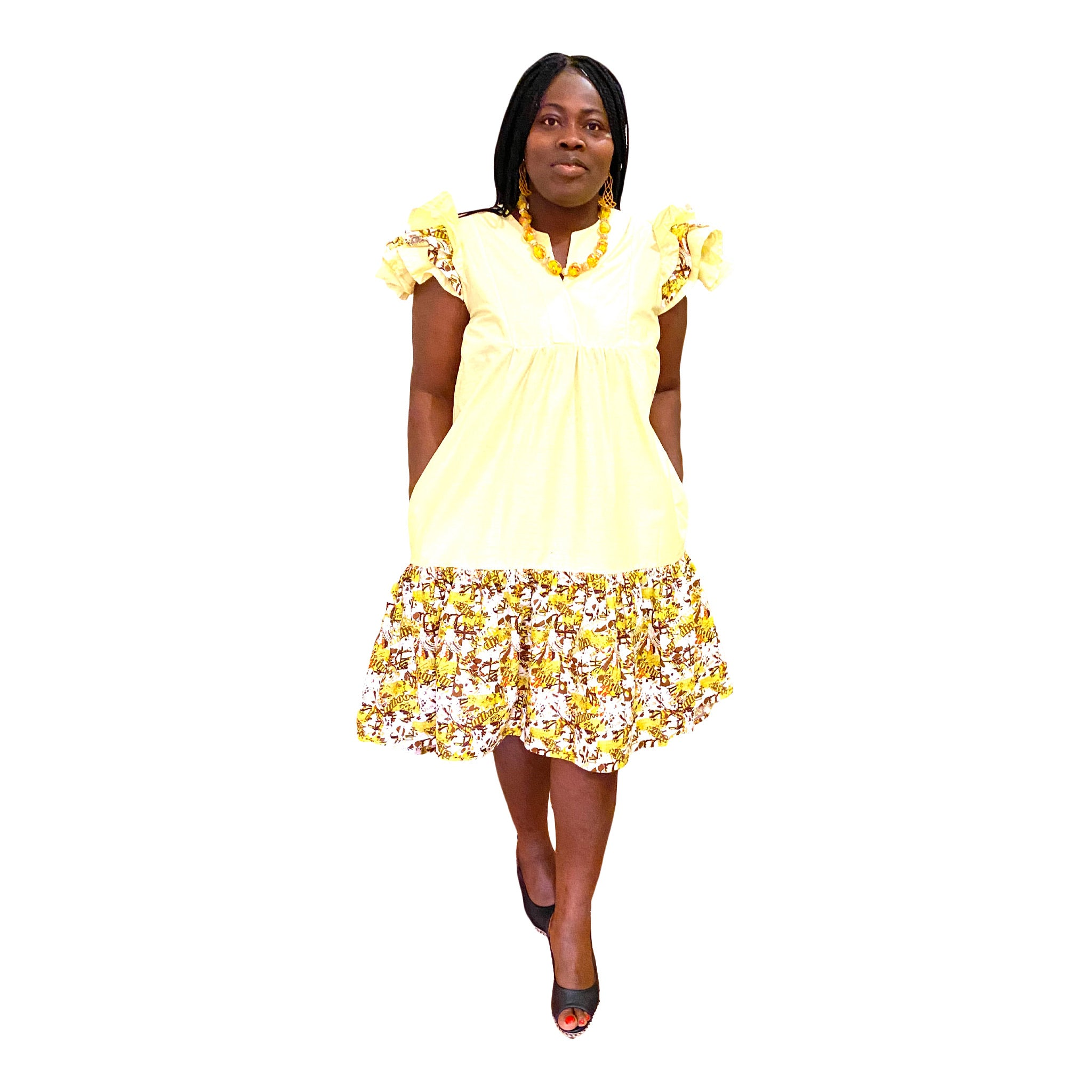 Woodin yellow funky dress