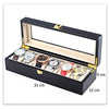 6 Slots Matte Black Watch Display Storage Wooden Case