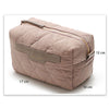 Taupe Quilted Cosmetic Makeup Pouch