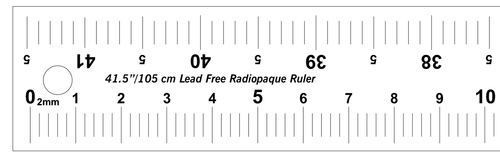105 cm dual scale, horizontally oriented, high definition, LEAD-FREE radiopaque extremity ruler used for direct measurements on a scanograph, radiograph or x-ray.