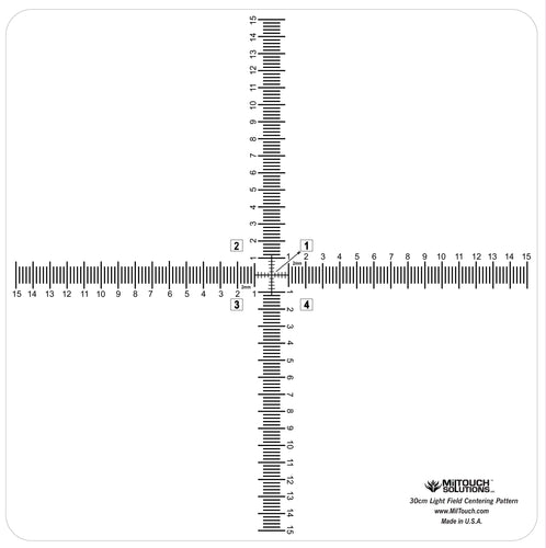 30 cm high definition, LEAD-FREE radiopaque centering pattern. This 30 cm cross pattern is designed for a quick machine check and alignment.