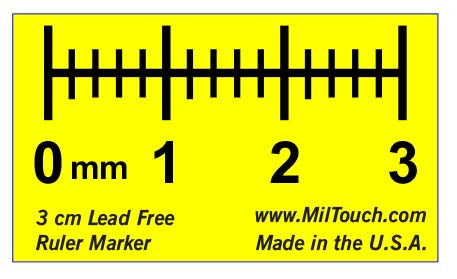 3 cm high definition, LEAD-FREE radiopaque extremity ruler used for direct measurements, teleradiology, CR and DR imaging