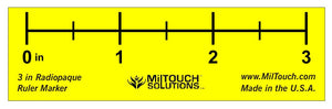 "3"" high definition, LEAD-FREE radiopaque extremity ruler used for direct measurements, teleradiology, CR and DR imaging"