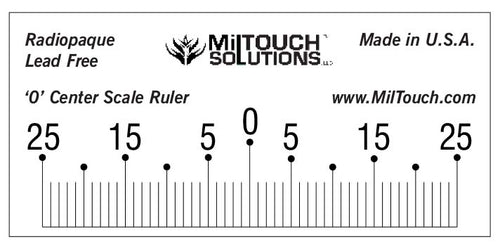 The 50 mm '0' center radiopaque ruler is used for calibrating centers and quality control for scanograms, radiographic x-ray & fluoroscopy equipment.