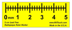 5 cm high definition, LEAD-FREE radiopaque digital style ruler used for direct measurements, teleradiology, CR and DR imaging