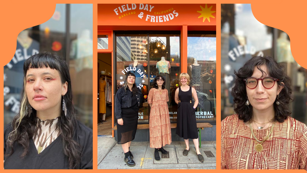 collage of three people standing outside field day in oakland