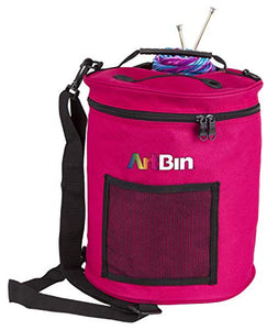 ArtBin Yarn Drum Portable Knitting & Crochet Storage [1] Poly Canvas Tote Bag Raspberry