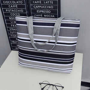 Women's Large Canvas Stripe Tote Bag