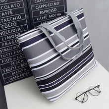 Load image into Gallery viewer, Women's Large Canvas Stripe Tote Bag