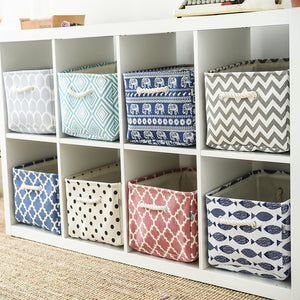 Canvas Fabric Storage Baskets with Handle