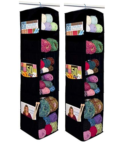 Innovative Home Creations 6-Shelf Yarn and Craft Organizer, Hanging Yarn Storage, Black, 4850-BLK, 2-Pack