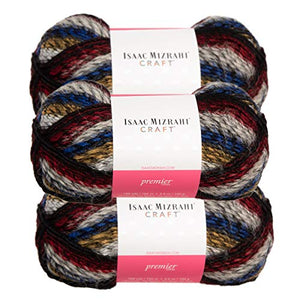 Premier Yarns 3 Pack Isaac Mizrahi NY Skyscraper Acrylic Soft Yarn for Knitting Crocheting #5 Bulky