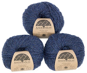Set of 3 Denim Heather 100% Baby Alpaca Yarn Bulky #5