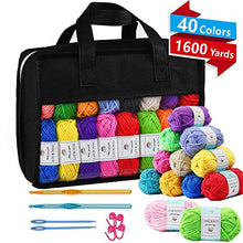 Load image into Gallery viewer, 40 Acrylic Yarn Skeins, 1600 Yards Crochet Yarn with Reusable Storage Bag Includes 6 E-Books, 2 Crochet Hooks, 2 Weaving Needles, 4 Locking Stitch Markers for Crochet & Knitting by Inscraft