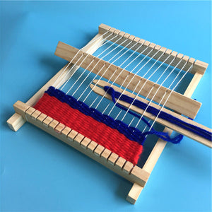 Wooden Weaving Craft Yarn Little Loom DIY Wool Knitting Machine Kids Educational Montessori Toys for Children