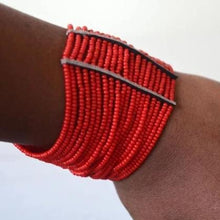 Load image into Gallery viewer, Maasai African Beaded Cuff Spiral arm Bracelet,