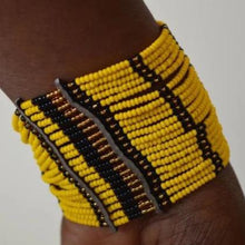 Load image into Gallery viewer, Maasai Beaded Cuff Bracelet African Handmade multi strand Arm Bracelet