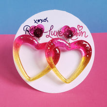Load image into Gallery viewer, Pink Yellow Ombre Glitter Jelly Heart Hoop Earrings