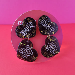 "Galentine's day Black and Gold ""Nope, Um Bye"" Heart Earrings"