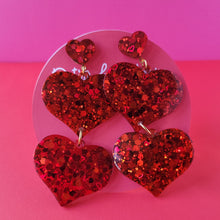 Load image into Gallery viewer, Galentine's day Ruby Red Double Heart Earrings