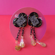 "Load image into Gallery viewer, Galentine's day Black and Gold ""Boy's Tears"" Heart Earrings"