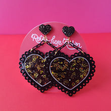 Load image into Gallery viewer, Galentine's day Black and Gold Lacey Heart Earrings