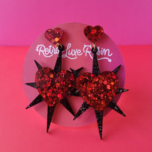 Load image into Gallery viewer, Galentine's day Ruby Red Starburst Heart Earrings