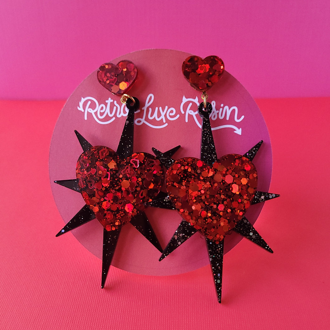 Galentine's day Ruby Red Starburst Heart Earrings