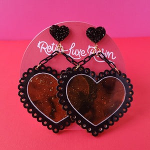 Galentine's day Tortoise Shell Lacey Heart Earrings