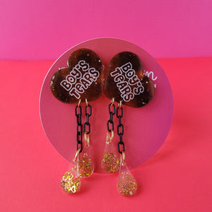 "Galentine's day Tortoise shell ""Boy's Tears"" Heart Earrings"