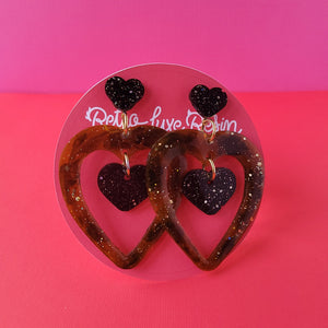 Galentine's day Tortoise shell Heart Outline Earrings