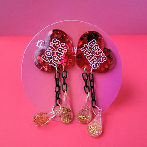 "Galentine's day Ruby Red ""Boy's Tears"" Heart Earrings"