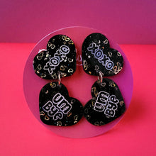 "Load image into Gallery viewer, Galentine's day Black and Gold ""Love 'em and Leave 'em"" Heart Earrings"