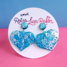 Load image into Gallery viewer, Blue Disco Jelly Medium Heart Earrings