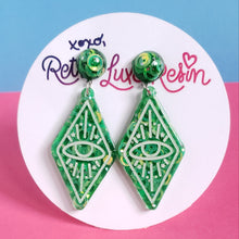 Load image into Gallery viewer, Green Disco Jelly Oracle Eye Earrings