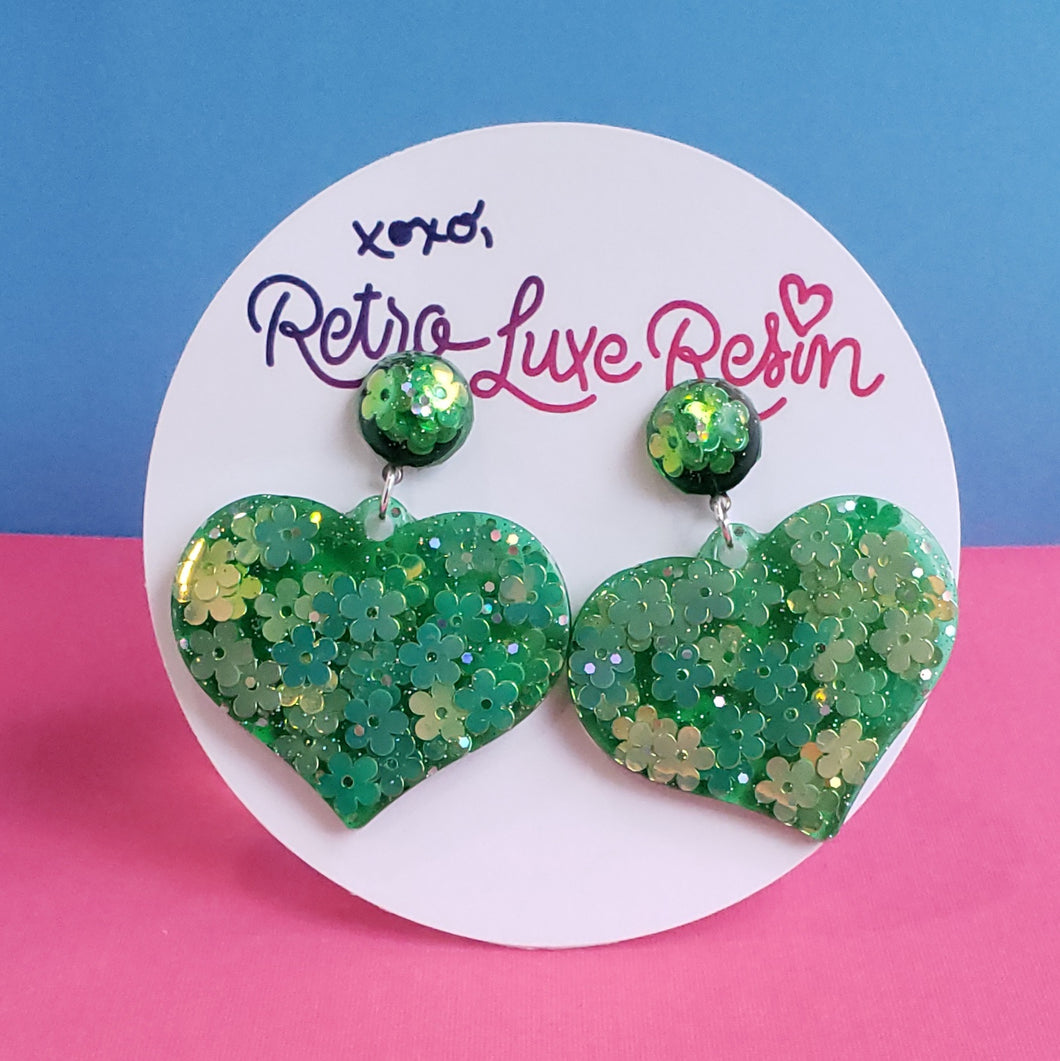 Green Floral Jelly Medium Heart Earrings