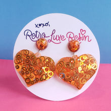 Load image into Gallery viewer, Orange Disco Jelly Medium Heart Earrings
